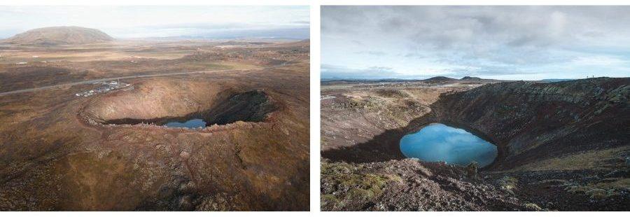 Cratère du volcan Kerid vue de drone